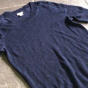 J. Crew Navy Blue Short Sleeve Cotton Sweater, M